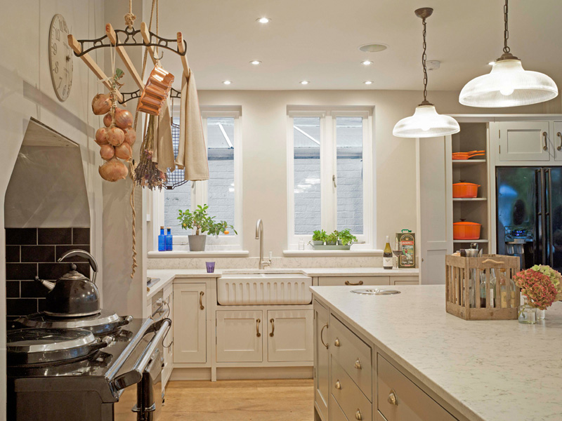 kitchen perspective with aga cooker