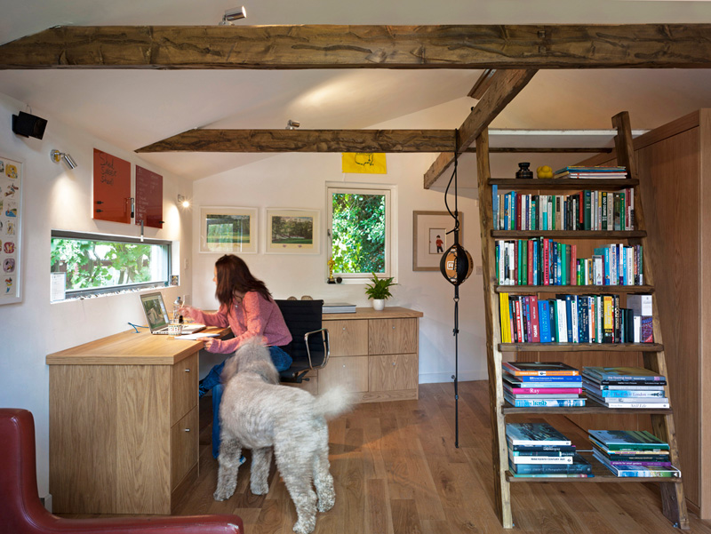 Garden Office / Gallery / Den internal perspective showing office area, library / stairs, artwork, people and dog