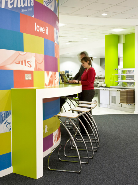 Carey Jones Reckitt Benckiser offices cafe counter and servery beyond