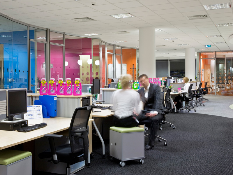 Carey Jones Reckitt Benckiser open plan offices with product and people