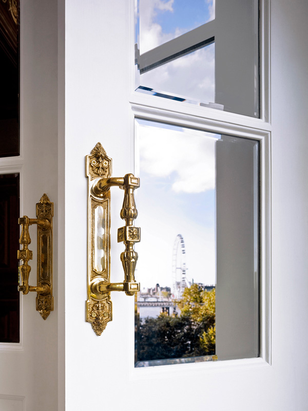 Savoy Hotel, Royal Suite door with London Eye landscape reflection