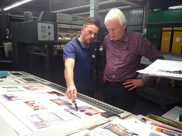 Dewi Lewis with Marco the printer at EBS, Verona, Italy