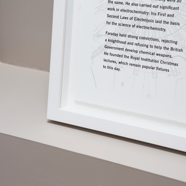 Material details showing deckled edge to paper and artwork floating withing a box frame
