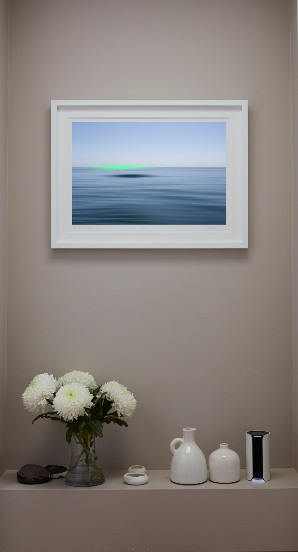 Interrupted Seascapes framed with a window mount in a box frame