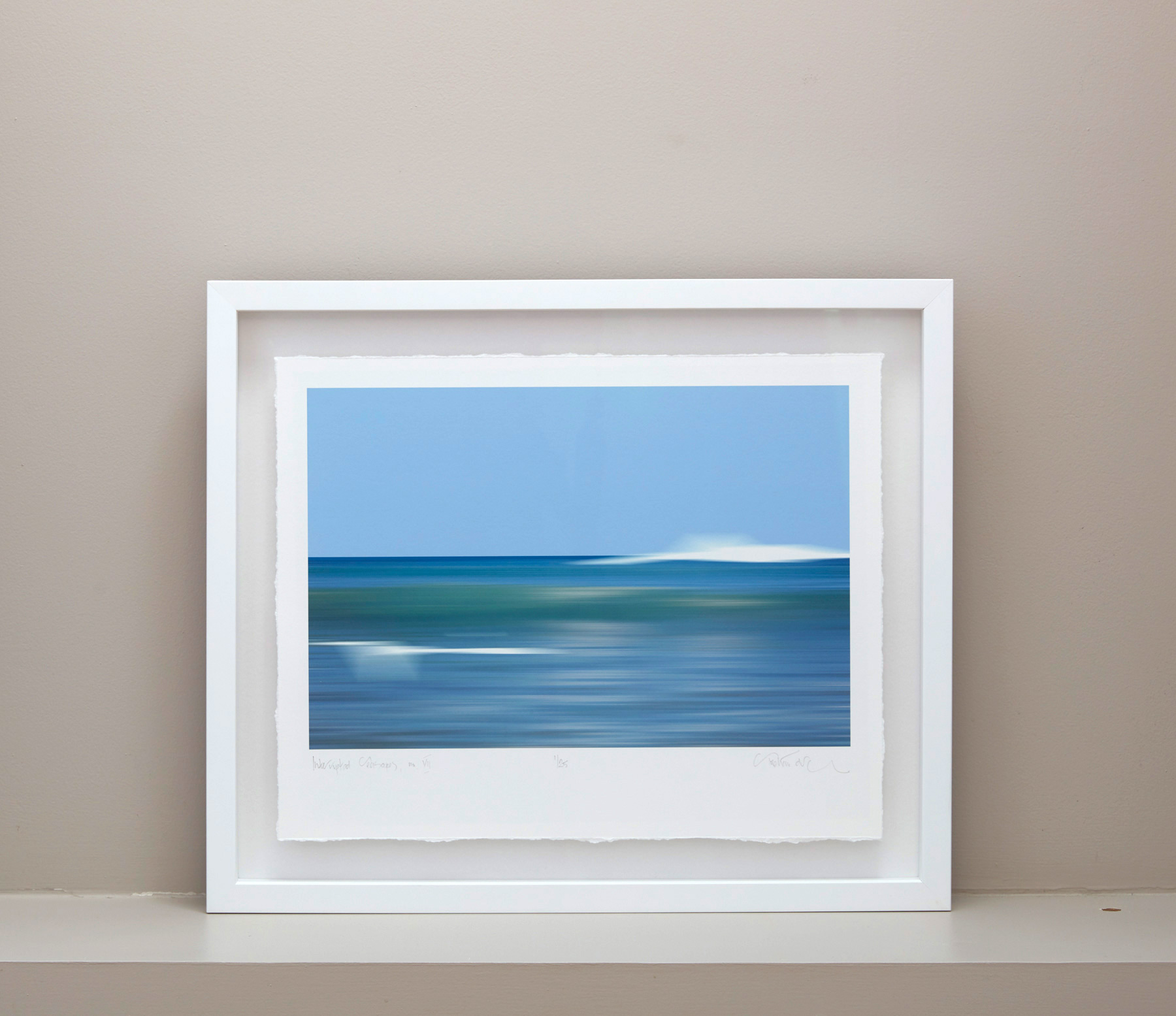 Interrupted Seascape, floating deckled edge print within a white box frame